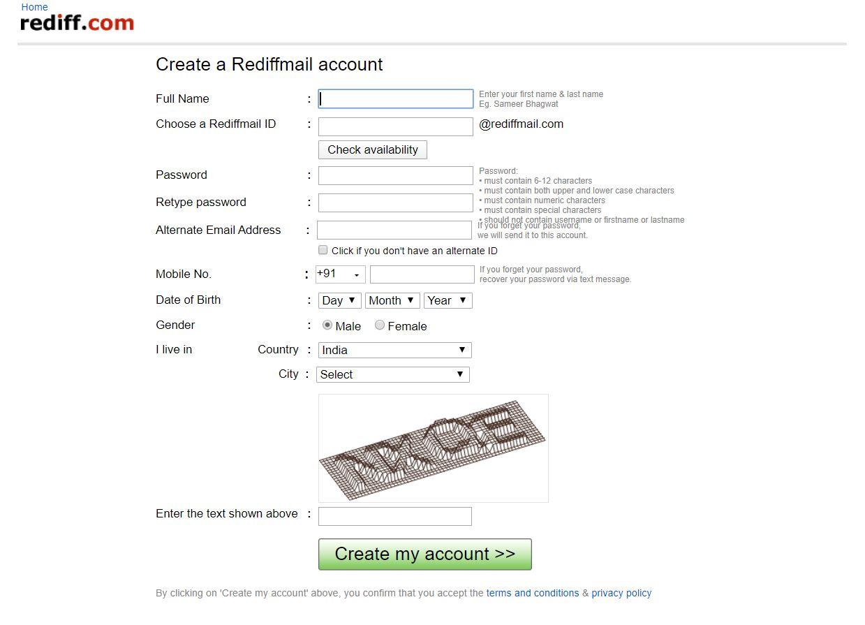 Gmail Alternatives Rediff