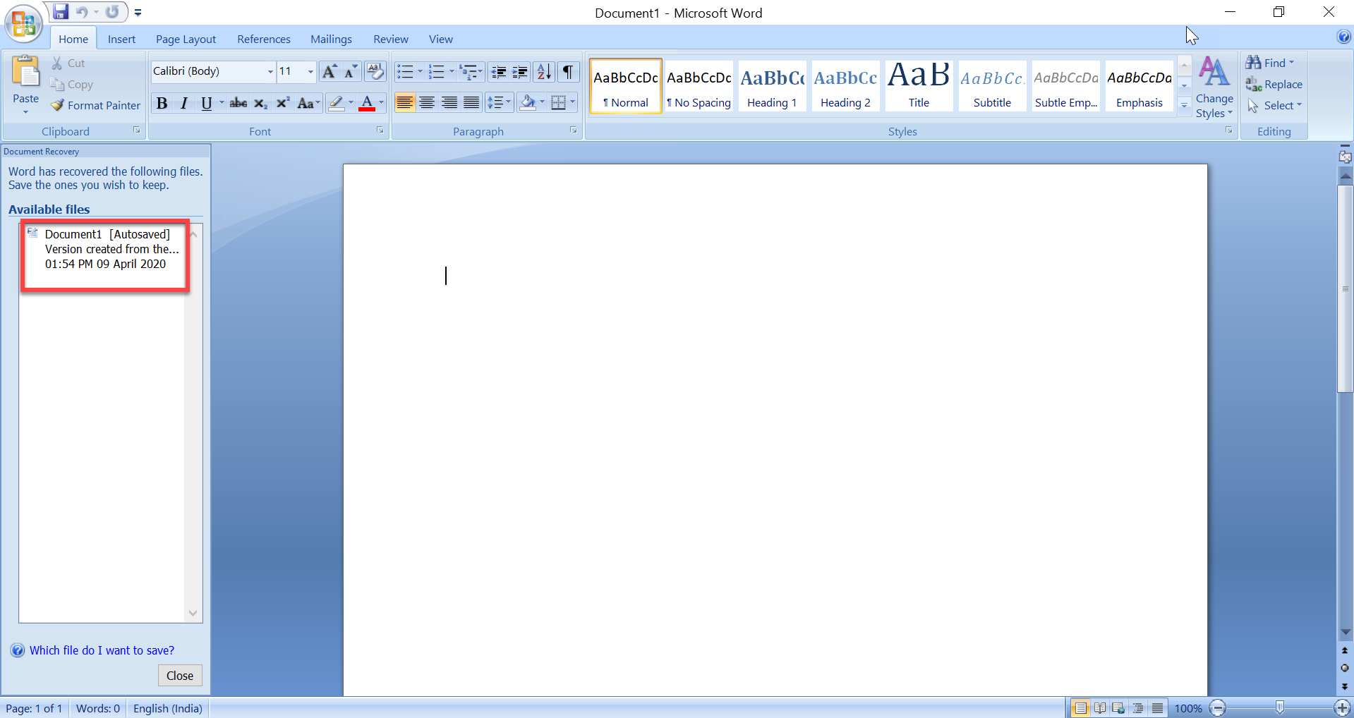 How to recover deleted word document in Windows 10