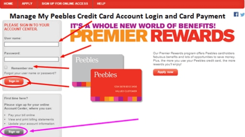 How To Signup And Login To Peebles Credit Card Account