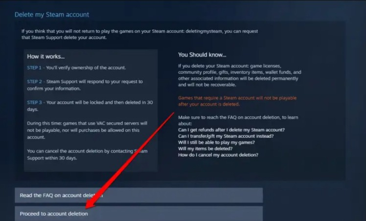 proceed to delete Steam account