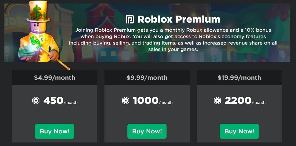 Get free Robux with Premium Membership